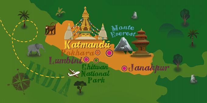 Népal - Carte