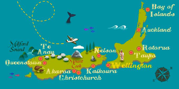 Nouvelle-Zélande - Carte